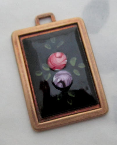 Guilloche enamel flower cabochon in casted raw brass setting pendant 29x21mm - s34