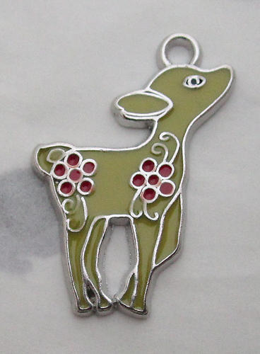 3 pcs. yellow w red flowers enamel on silver tone fawn deer pendant charms 28x23mm - s61