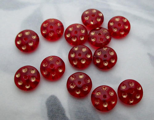 25 pcs. Czech glass red w gold dot intaglio flying saucer beads 8x3mm - s80