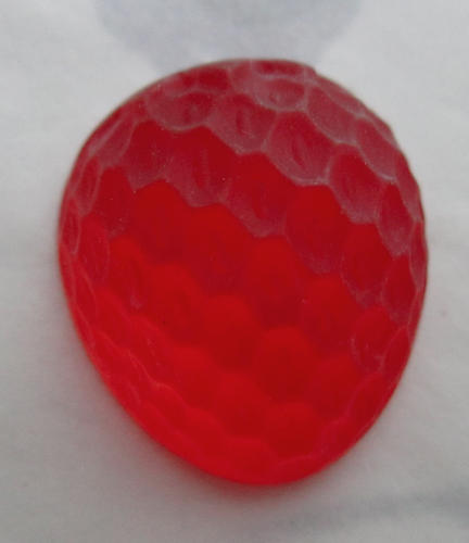 glass textured high dome red frosted foiled strawberry flat back cabochon 19x16mm - s85