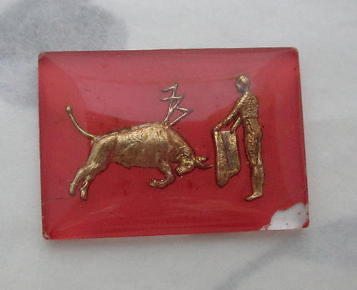 glass reverse painted intaglio pink bull and matador bullfight cabochon 24x18mm - s86
