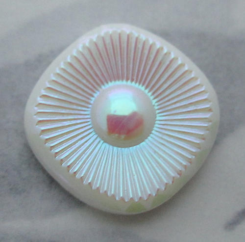 3 pcs. glass white milk iridescent AB starburst sun ray flower flat back cabochons 16mm - s93