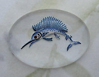 glass reverse painted intaglio sailfish cabochon 25x18mm - d03