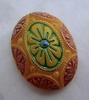 glass painted intaglio / relief oval flat back cabochon 25x18mm - d193