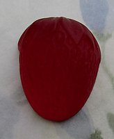frosted Cuba glass foiled strawberry fruit flat back cabochon 27x22mm - d212