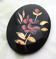 glass black jet w hand painted red and gold flower rose floral flat back cabochon 40x30mm - d398