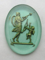 glass reverse painted intaglio peridot green w gold cupid eros cabochon 25x18mm - f5883
