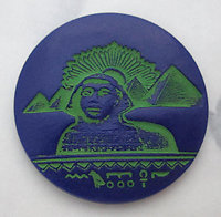 Czech glass painted intaglio Egyptian revival blue and green Giza sphinx and pyramids cabochon 32mm - f6162