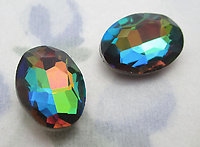 3 pcs. glass vitrail rainbow special effects oval rhinestones 14x10mm - f6385