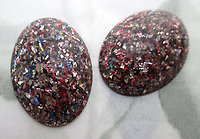 6 pcs. multi colored glitter lucite oval flat back cabochons 25x18mm - f6724