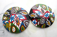 2 pcs. hand painted wood abstract flat back cabochons 35.5mm - f6905