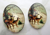 5 pcs. glass flat back cabochons w deer in the snow 25x18mm - f6961