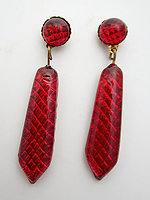 glass art deco revival red foiled textured reflector drop dangling pierced earrings - j6502