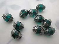 10 pcs. Czech glass topaz w antiqued copper verdi gris finish cathedral beads 10x8mm - r386