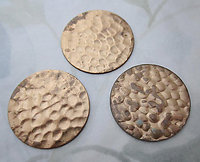 8 pcs. raw brass disks w hammered texture 29mm - r414