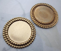 6 pcs. raw brass 18mm flat back cabochon settings 25mm - r446