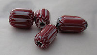 12 pcs. glass red and white striped chevron beads - s362