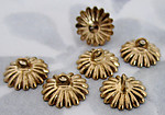 18 pcs. raw brass ridged bead/charm glue on caps 10mm - f2790