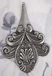 raw steel large ornate art nouveau stamping pendant charm 58x40mm - f2849