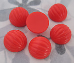 18 pcs. fluted ridged red orange coral plastic melon flat back cabochons 16mm - f2958