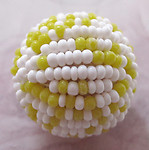 Czech glass yellow and white seed beaded ball 21mm - f2992