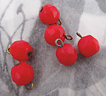 18 pcs. glass red faceted bead charms 7mm - f3402