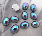 30 pcs. glass blue AB foiled flat back cabochons 10x8mm - f3437