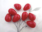 24 pcs. red plastic teardrop half drilled beads for charms 17x12mm - r168