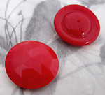 6 pcs. faceted glass red cabochons 24mm - f4308