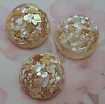 6 pcs. vintage resin glitter cabochons 19mm - r41