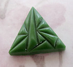 2 pcs. glass art deco green triangle flat back cabochons 18mm - f2583