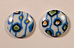 6 pcs. glass mid century modern abstract print cabochons 10mm - f1682