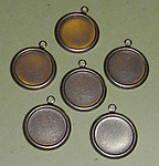 16 pcs. Raw brass 13mm cabochon settings w loop - f1863