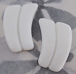 6 pcs. glass white cabochons R and L right and left 30x23mm - f2714
