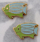 6 pcs. gold tone plated blue and green cold enamel metal fish flat back cabochons 12x8mm - f2784