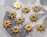 30 pcs. gold tone plated plastic flower sew on cabochons or beads 12mm - f2784b