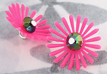 6 pcs. rubber hot pink flower charms 19mm - f3830