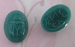 6 pcs. glass chrysoprase green scarab cabochons 14x10mm - f4098
