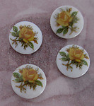 12 pcs. glass yellow rose flower floral print cabochons 7mm - f3073