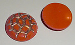 4 pcs. glass orange gold painted intaglio cabochons 18mm - f1848