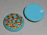 4 pcs. glass blue painted intaglio cabochons 18mm - f1849