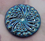 glass blue green iris AB pinwheel relief flat back cabochon 22.5mm - f2302