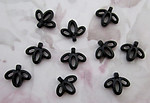 30 pcs. black abstract flower bead drop charms 14x12mm - r46