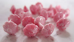 30 pcs. plastic double flower pink swirl barbell beads 13x7mm - r149