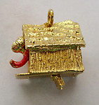 2 pcs. gold tone moveable man in dog house charms 15x12x10mm - f2365
