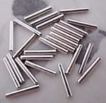 75 pcs. silver tone liquid silver tube beads 9.5x1.5mm - f4322