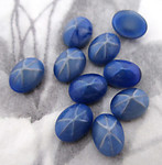 24 pcs. glass blue starburst flat back cabochons 8x6mm - f4375