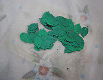 package of 72 green two hole leaf sequins 13x8mm - f4427
