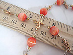 18 inches glass fiber optic cat eye orange coral bead and raw brass chain 8mm - f4479