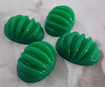 12 pcs. plastic green ridged oval fluted flat back cabochons 18x13mm - f2336